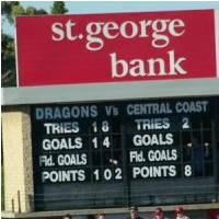 Scorebaord Dragons 102 Central Coast 8 - St George Dragons rugby league history